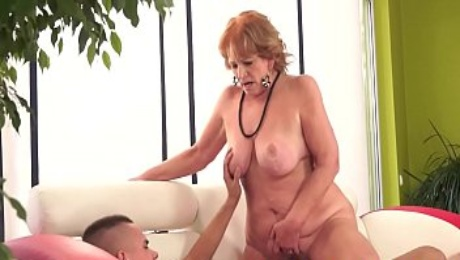 Chubby granny sucking cock after riding it