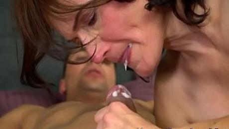 Grandma gobbles hard cock and takes cum